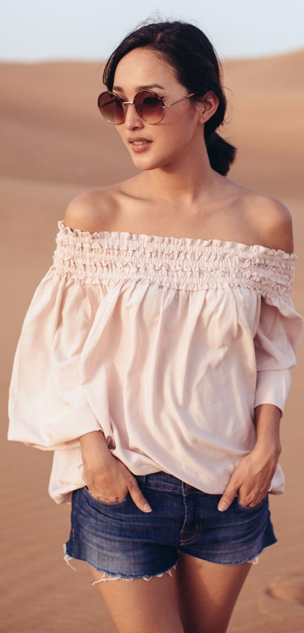 5e1b67c0ccaa H m White Boho Inspired Comfy Loose Fit Off Shoulder Top by Gary Pepper