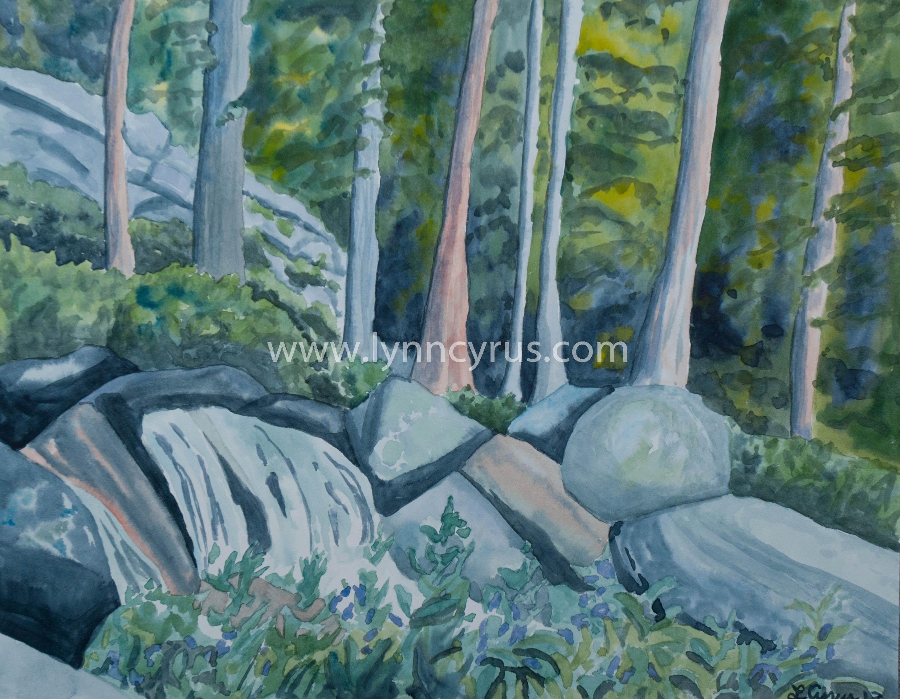 Original Watercolor Painting Of A Rocky Mountain Forest Scene