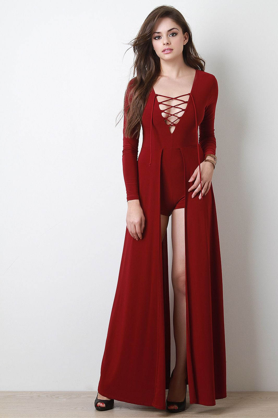 58a9637731ad Lace Up Long Sleeve Maxi Romper