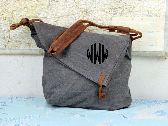 Monogramed Grey canvas leatherShoulkder bagcanvas bag by HeFabric