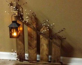 Primitive Decor, lantern candle holder decor, Rustic Home Decor, picket fence , lantern, cottage decor, home decor, country decor