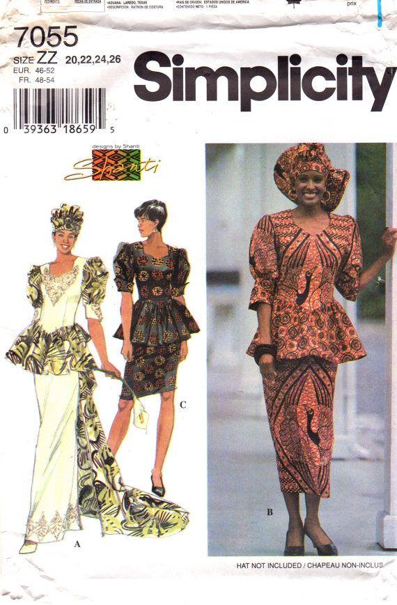 Simplicity 7055 Misses African Wedding Sewing Pattern Peplum Top ...