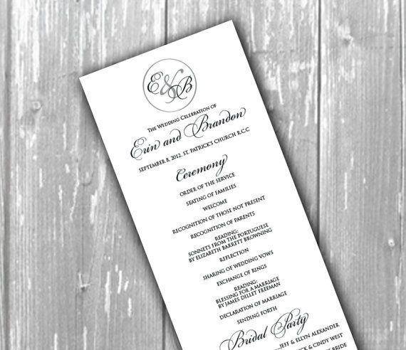 Elegant Wedding Program Church By Thememorytrunk On Etsy 3 50