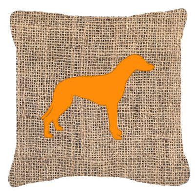 "Caroline's Treasures Greyhound Burlap Indoor/Outdoor Throw Pillow Size: 18"" H x 18"" W x 5.5"" D, Color: Orange"