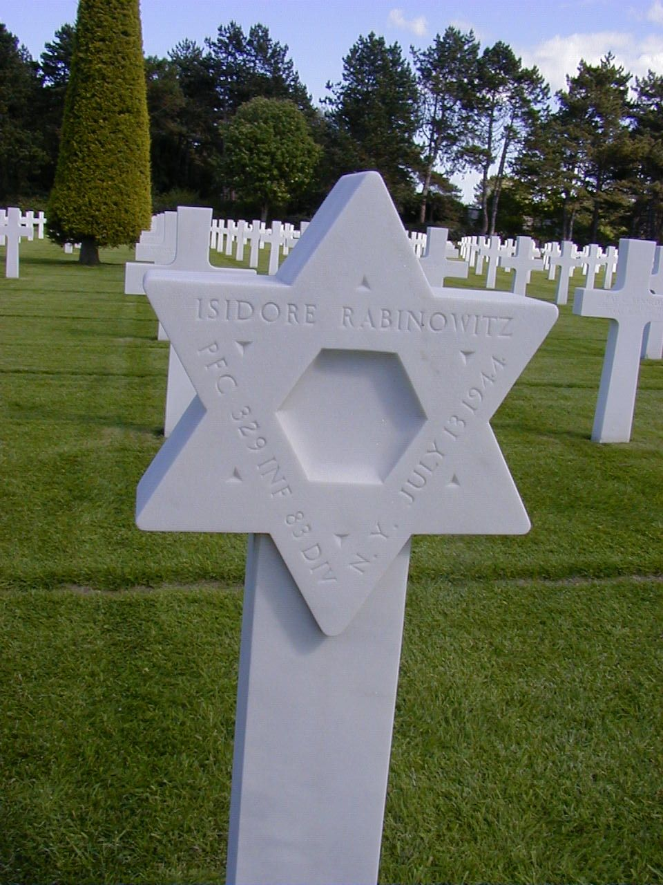 The American cemetery at Colleville sur mer over Omaha beach has 149 stars of David out of 9388 graves.  #normandy #dday #battle of normandy