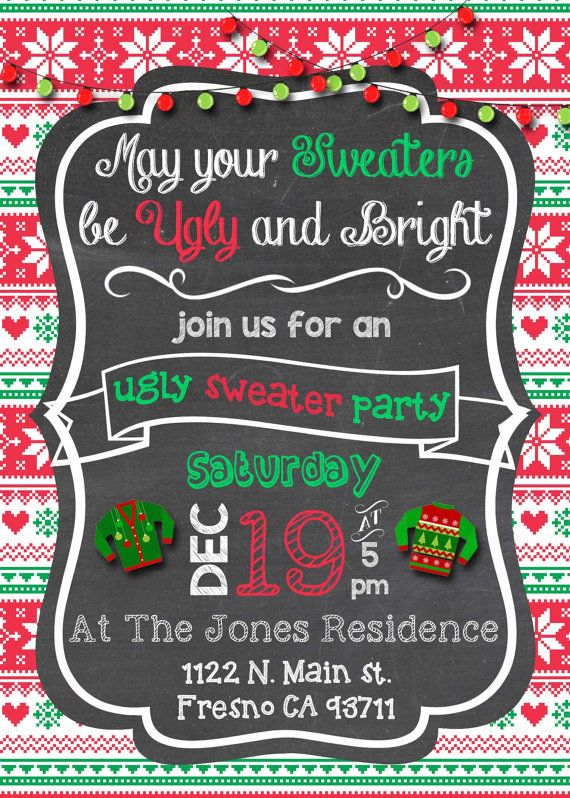 Ugly Sweater Christmas Party Invitation Invite Ugly Xmas Sweater