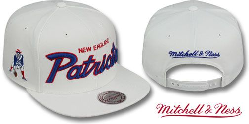 Patriots TEAM-SCRIPT SNAPBACK White Hat by Mitchell  84194a1e0f0