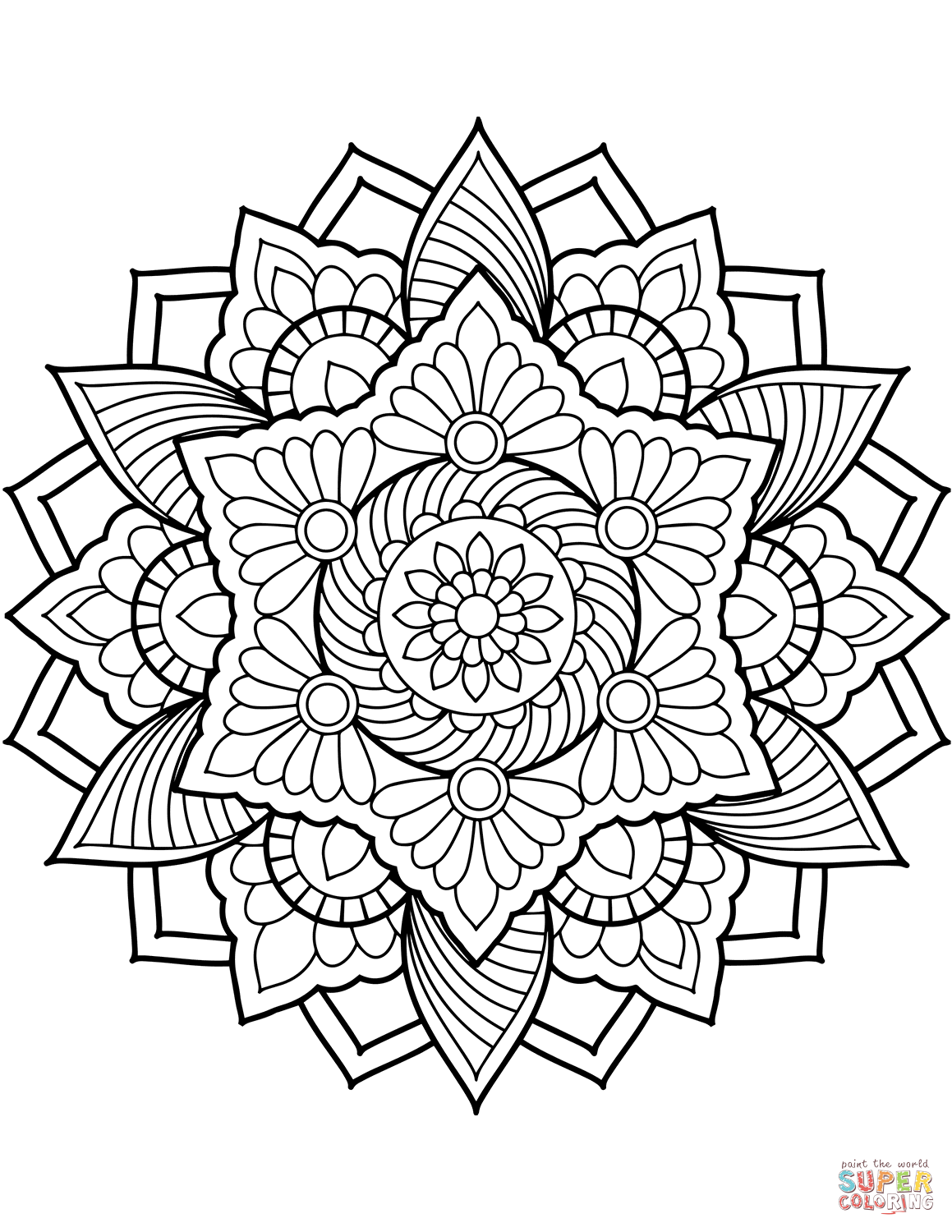 Flower Mandala Coloring Page From Floral Mandalas Category Select