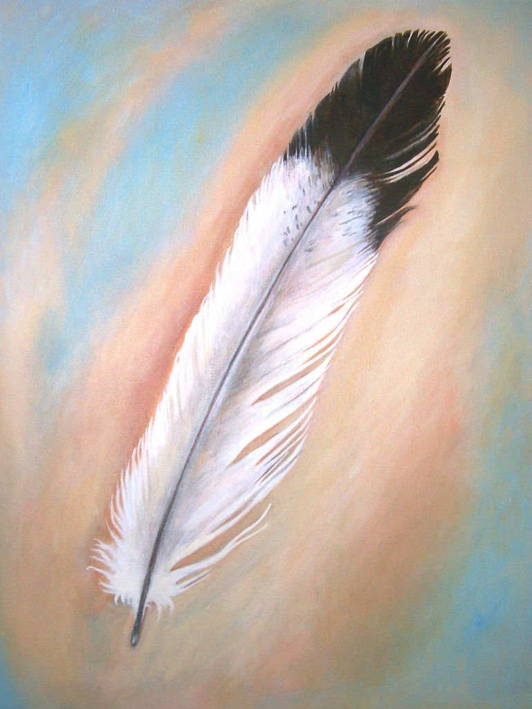 ... Feather - Original Painting on Canvas 16 x 20 | by art angel 1