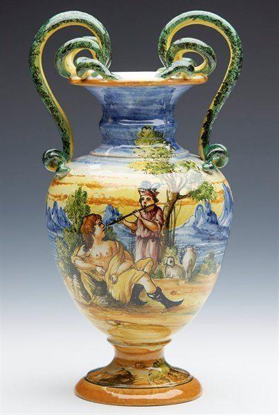 Antique Italian Cantagalli Maiolica Vase 1920th C Italian