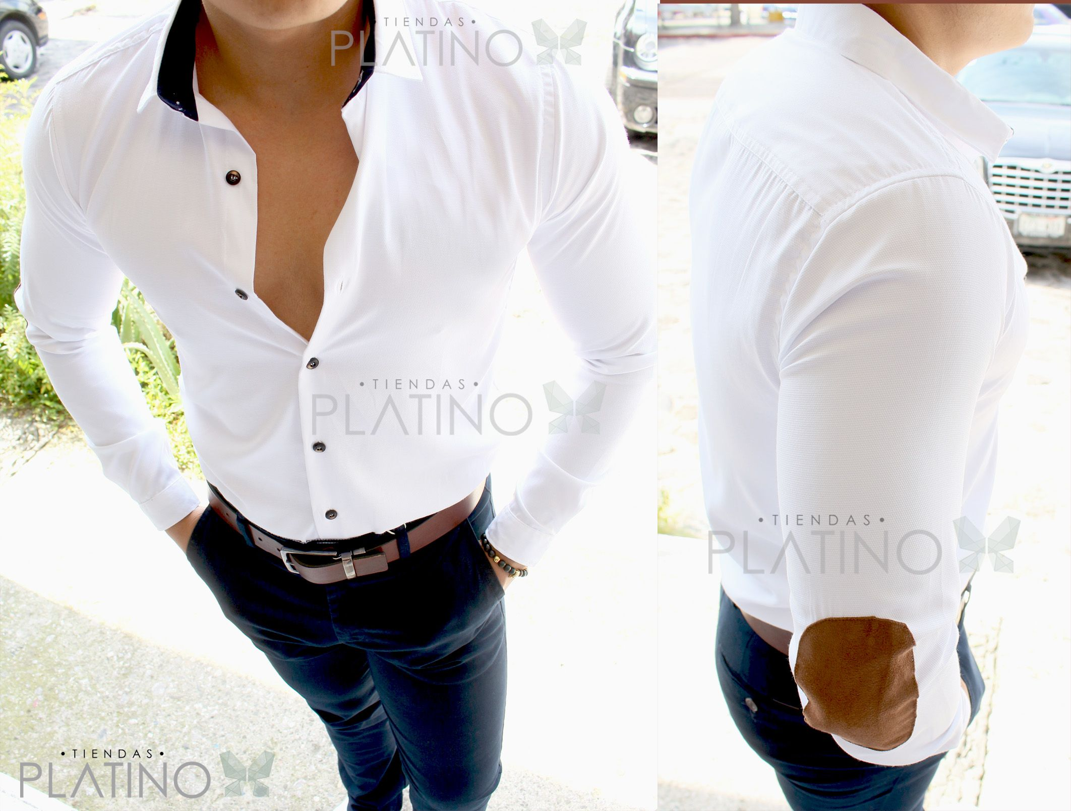Camisa Slim Fit blanca lisa con coderas café en terciopelo 6417532db7ad6