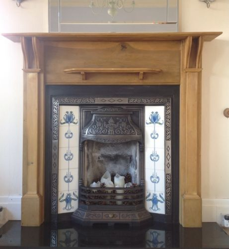 Original Victorian Cast Iron Tiled Fireplace With Antique Pine Surround Ebay Fireplace Tile Victorian Fireplace Tiles Edwardian Fireplace