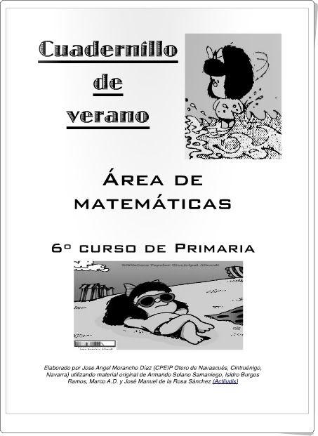 Buen cuadernillo de verano del rea de matem ticas para 6 nivel de educaci n primaria elaborado - Colegio otero de navascues ...