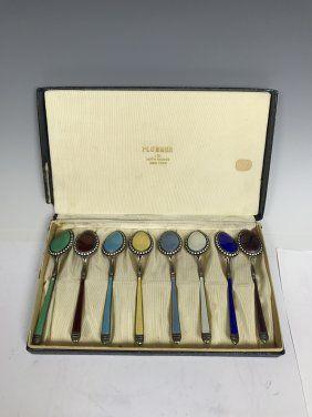 Set of Eight Silver-Gilt And Cloisonné Enamel Spoon Set