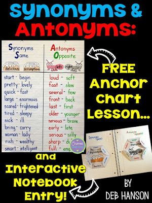 Synonyms Antonyms Anchor Chart With A Freebie Synonyms And Antonyms Antonyms Anchor Chart Anchor Charts