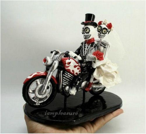 Skull Motorcycle Wedding Cake Topper Toppers