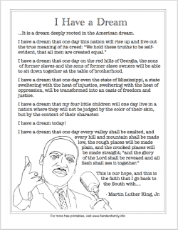 printable martin luther king jr s i have a dream speech   printable martin luther king jr s i have a dream