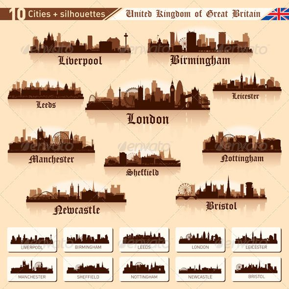city skyline set  10 cities of great britain  1  graphicriver this is a set of 10 cities of the