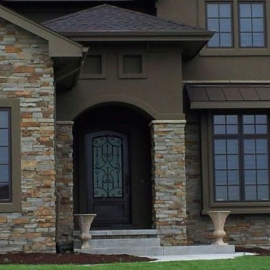 Color combo stucco and stone not quite so dark though - Exterior paint coverage on stucco ...