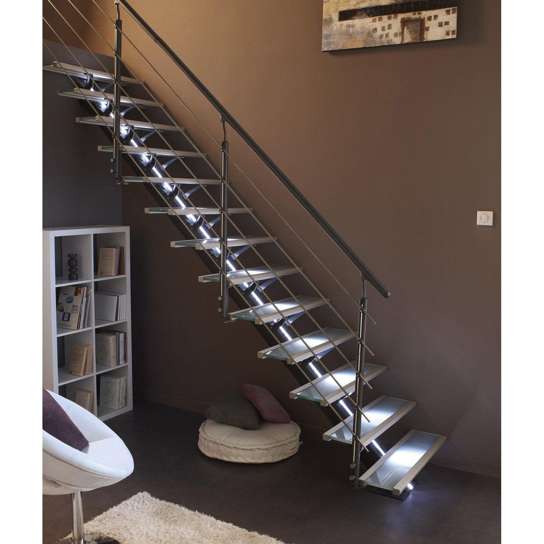 Escalier Droit Alu Gris Mona 14 Marches Verre L 85 Escalier