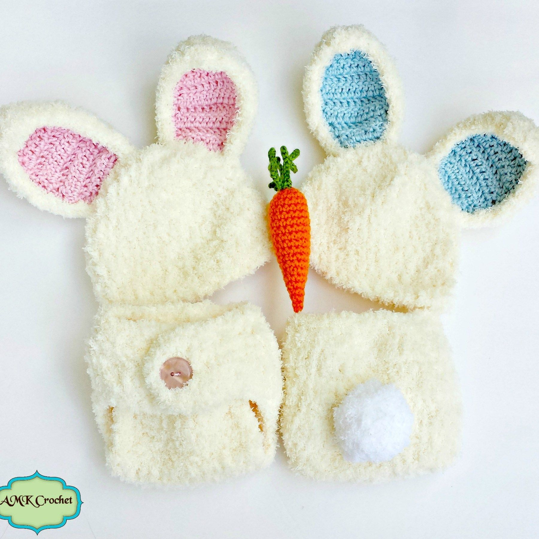 Crochet Newborn Easter Bunny Hat and Diaper Cover Outfit, Boy and ...