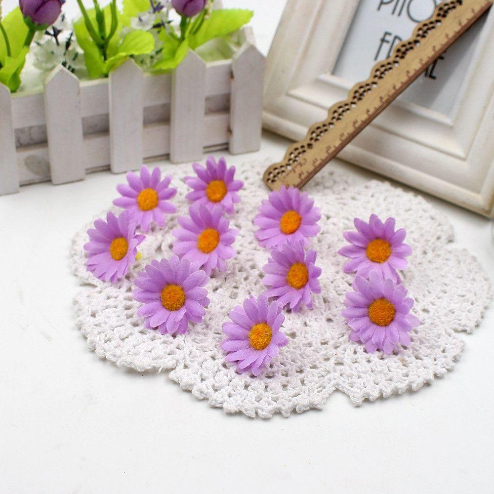 Decoration images for wedding  pcs Small Silk Sunflower Handmake Artificial Flower Head Wedding