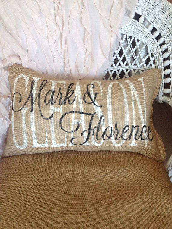 Burlap Pillow Family Name Custom Gift Wedding Personalized