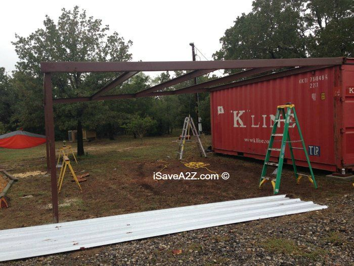 Shipping Container Carport And Storage Idea