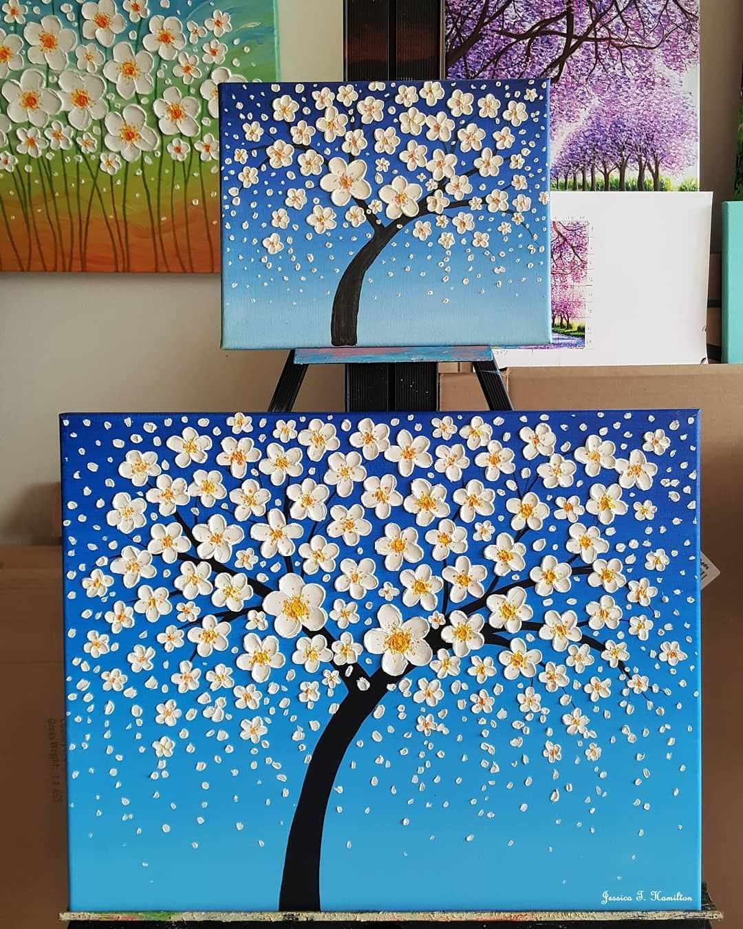 50 Easy Textured Flowers Canvas Painting Ideas For Beginners In 2020 Flower Painting Canvas Canvas Painting Designs Easy Canvas Painting