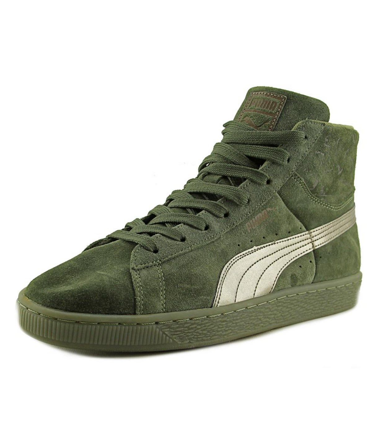 PUMA PUMA SUEDE MID CLASSIC MEN ROUND TOE SUEDE GREEN SNEAKERS .  puma   shoes  sneakers 88d07889e