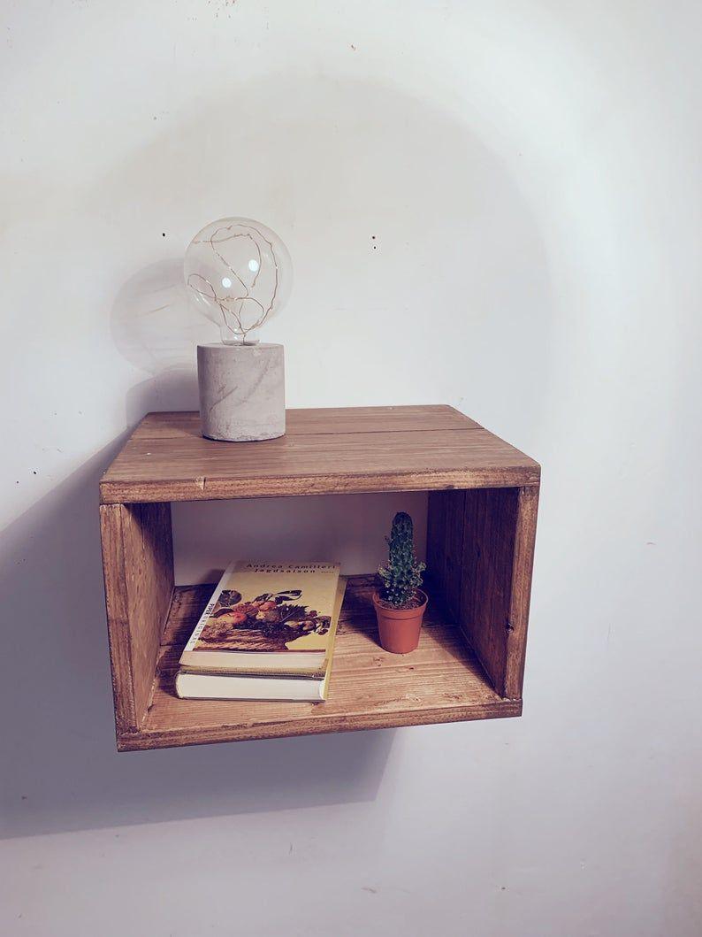 Nightstand Floating Nightstand Wood Nightstand Plant Stand