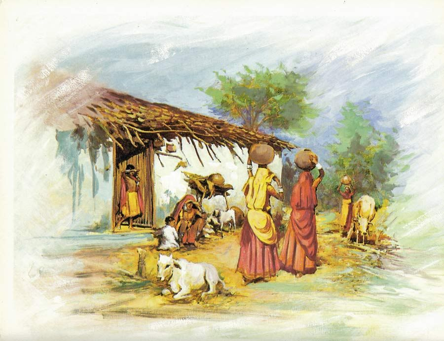 Indian Rural Life Indian Paintings Indian Art Rural Life