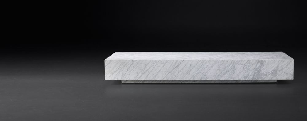 Rh Modern Low Marble Plinth Rectangular Coffee Table