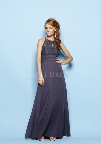 Floor Length Chiffon & Lace A line Halter Empire Waist Bridesmaid Dress With Sash/ Ribbon