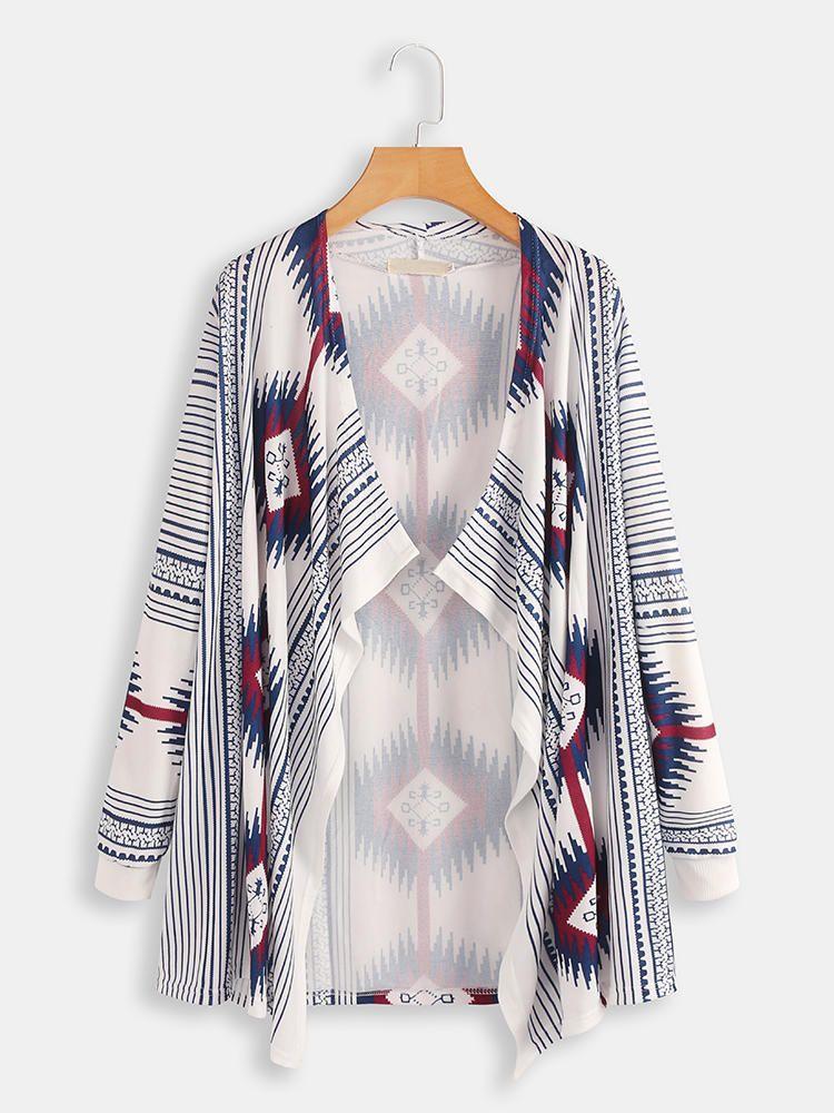 Plus Size Contrast Color Print Long Sleeve Cloak Cardigans 2