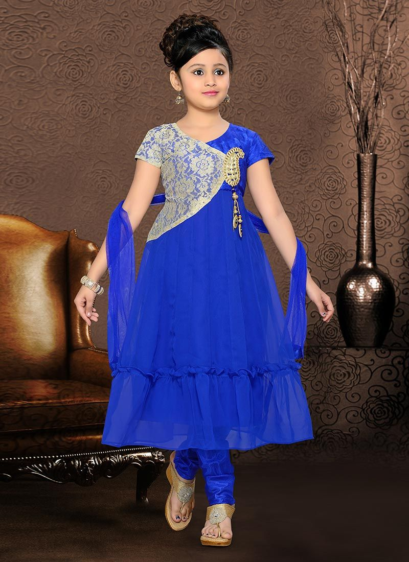 535ed91d7 Blue Net Anarkali Suit Vestidos Para Niñas