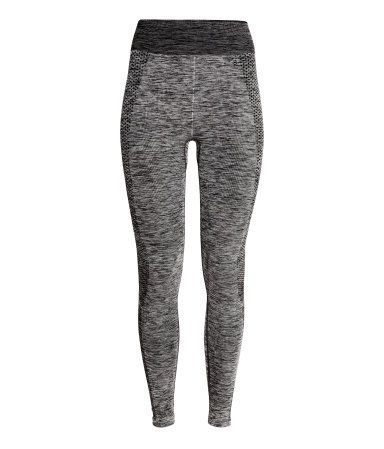 ffa6c259ff Jacquard-knit base layer tights in fast-drying, functional fabric with an  elasticized waistband. Seamless. | H&M Sport