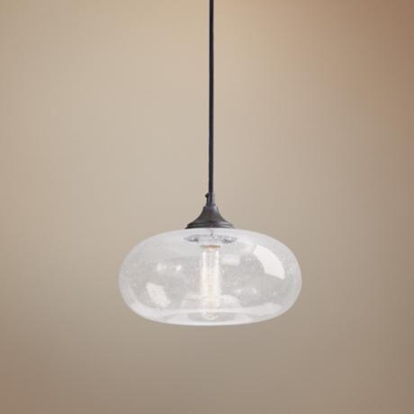 Torus One Light Seeded Glass Mini Pendant