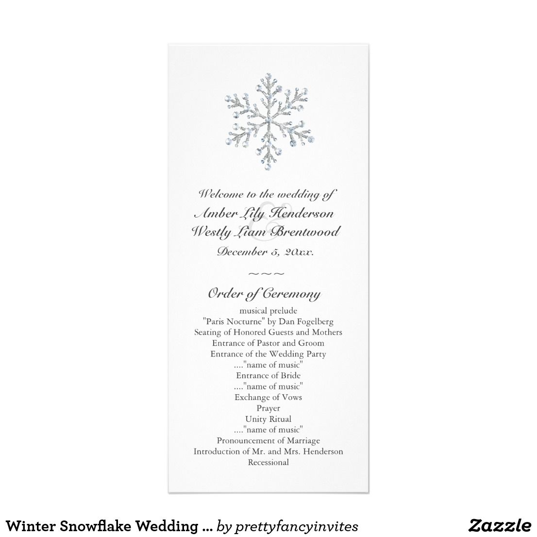 Winter Snowflake Wedding Program White A Beautiful With Ilrated Crystals Accents This