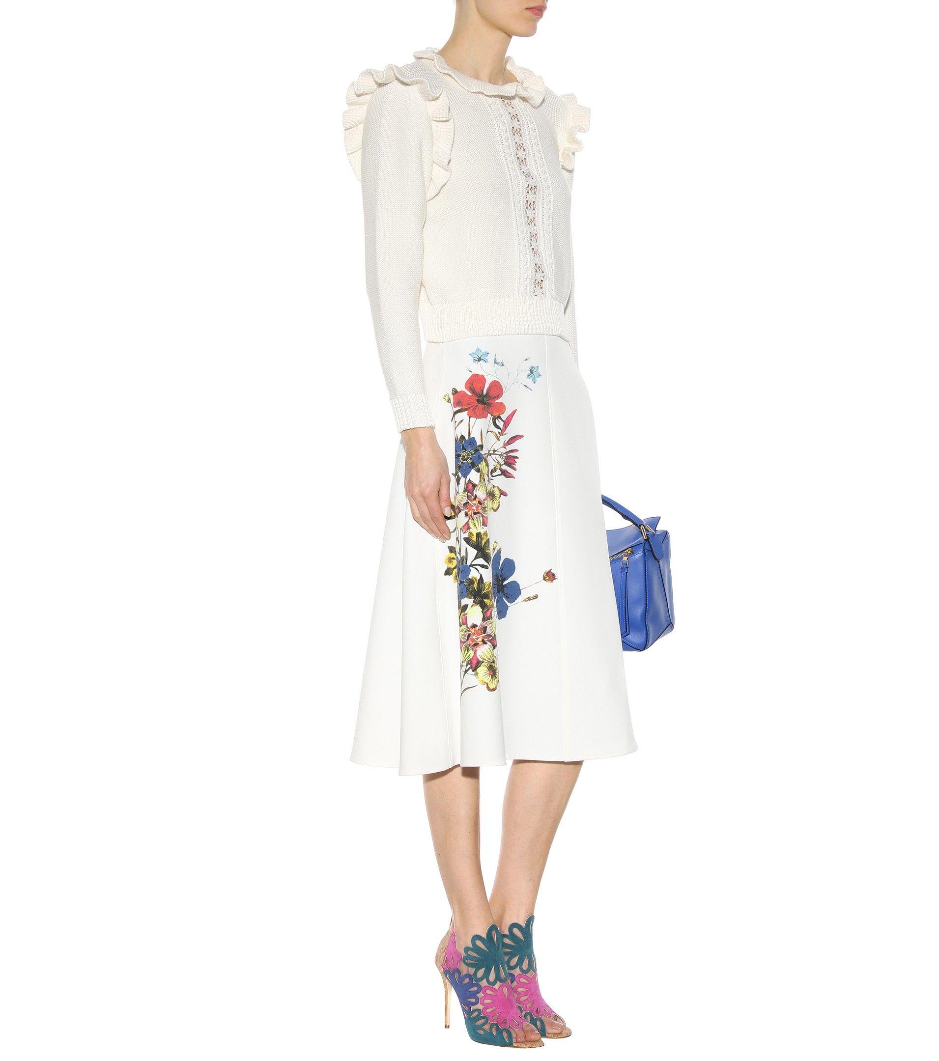 Maury multicoloured printed crêpe skirt. www.italianist.com
