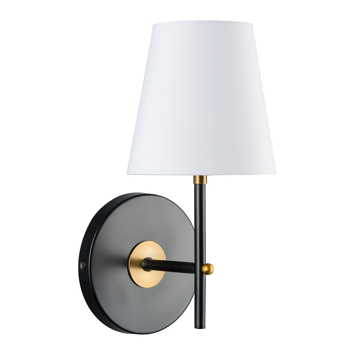37 Tamb Sconce Black With Antique Brass One Light Fixture With Fabric Shade Hardwire Wall Mount Lighting Linea Di Lia Sconces Wall Sconces Fabric Shades