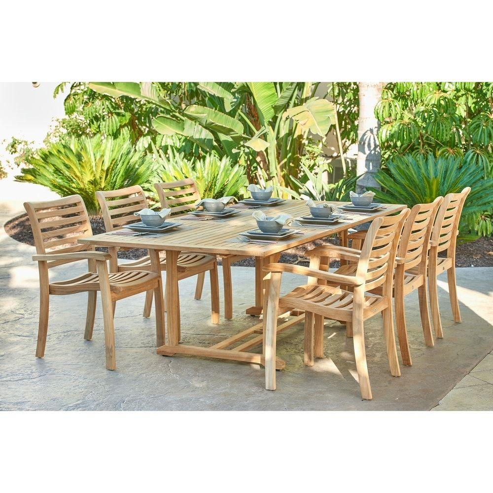 Dalton Rectangular Teak Outdoor Dining Table With Extension Brown