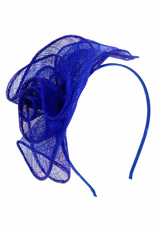12b34635619 Cobalt Blue Sinamay Flower Design Hairband Fascinator