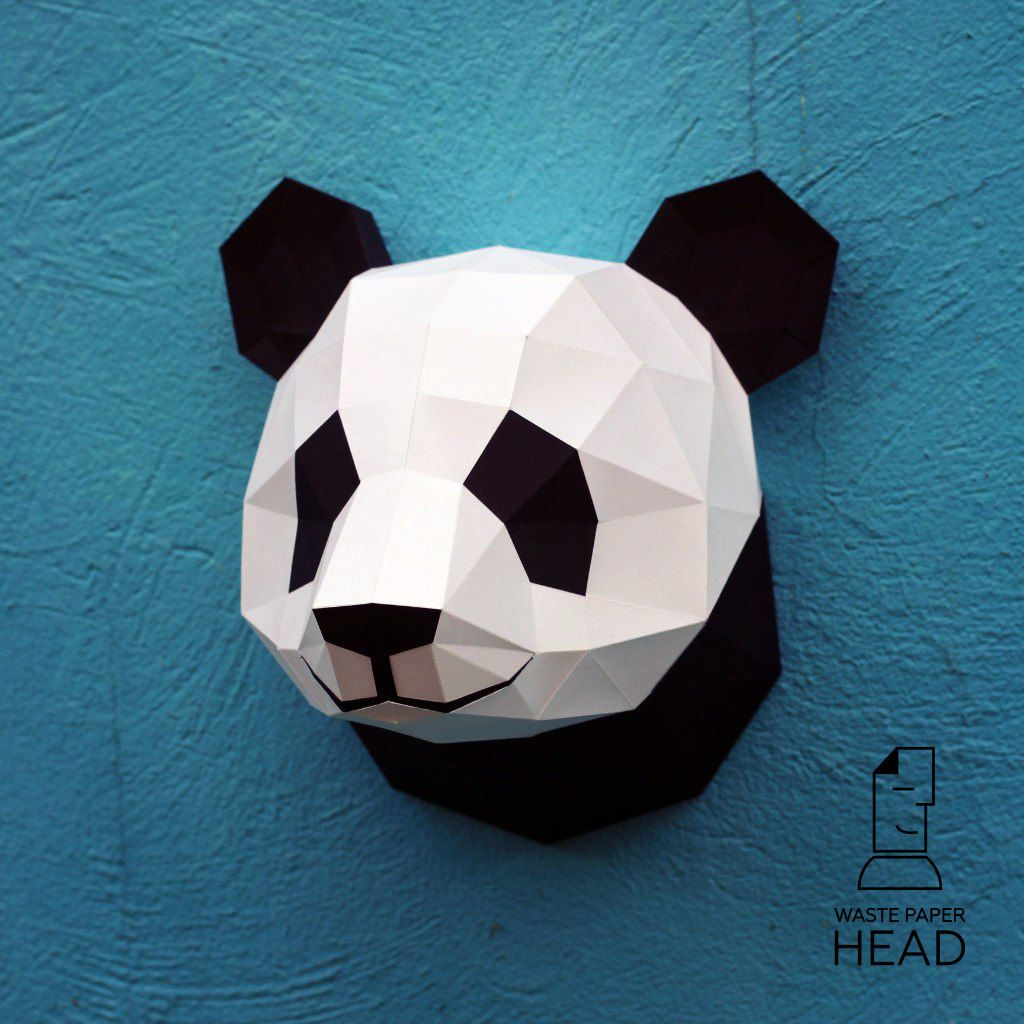 papercraft panda head printable digital diy template more paper size and wall decorations ideas. Black Bedroom Furniture Sets. Home Design Ideas