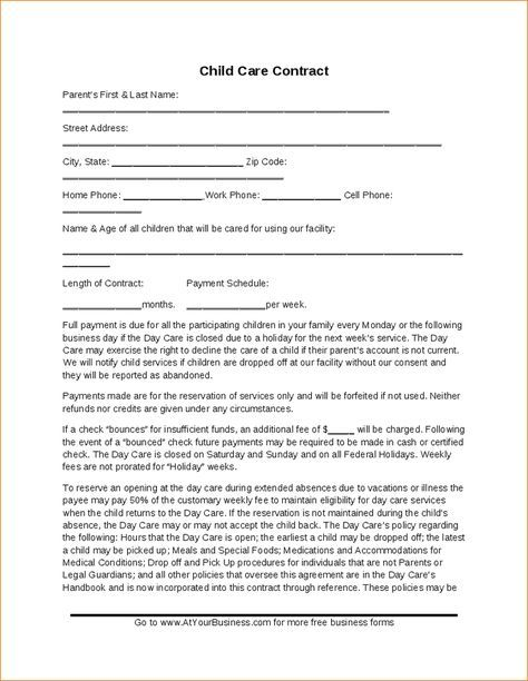 Child Care Contract Template Hashdoc Childhood