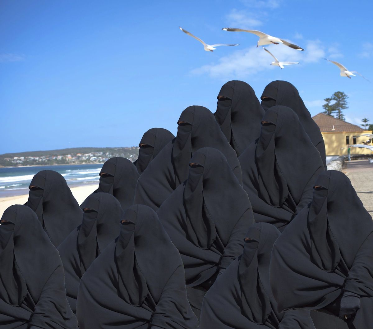Muslim women at the beach in burkas remarkable