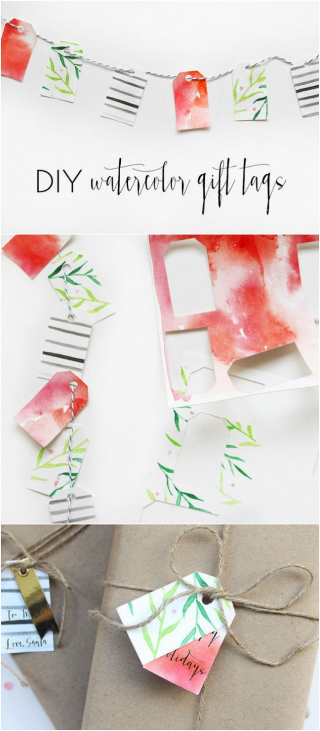 Diy Sweet And Simple Watercolor Gift Tags Watercolor Christmas