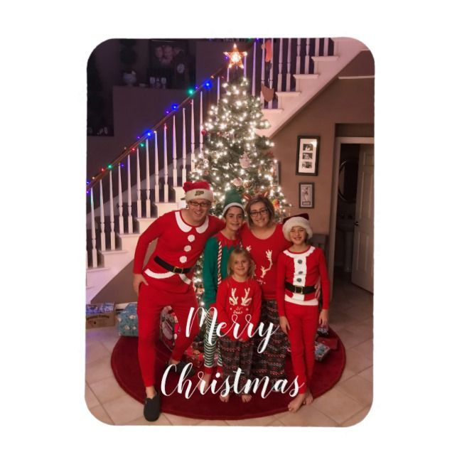 Merry Christmas Family Photo Magnet
