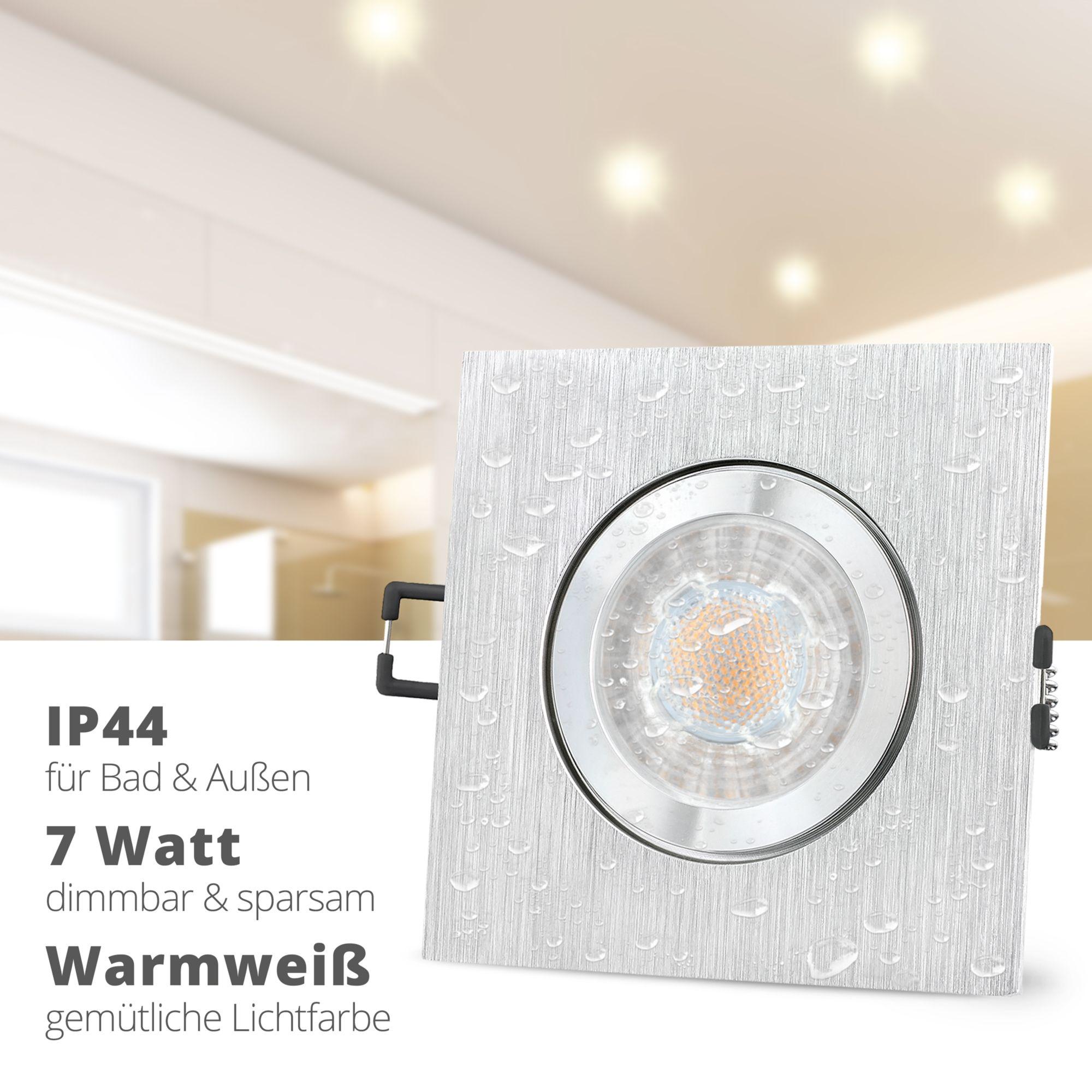 Qw 2 Einbauspot Dimmbar Bad Aussen Ip44 Alu Quadratisch Mit Led Gu10 7w Warmweiss Led Einbauspots Led Und Einbauleuchten