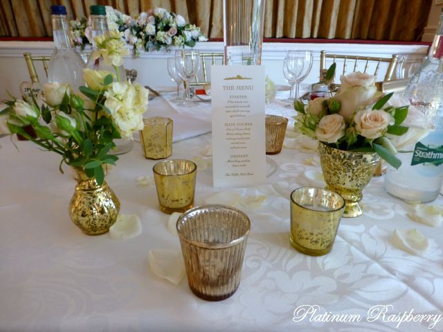 Gold crackle vases and tea light holders